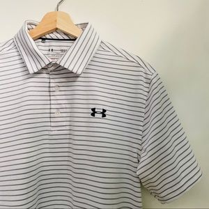 UNDER ARMOUR Golf Shirt Striped White Black XL